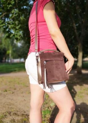 Универсальный клатч на длинном ремешке, рюкзак трансформер с натуральной замшей