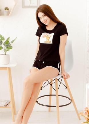 Mito гарфилд 6001 черная женская хлопковая пижама футболка и шорты с рисунком кота