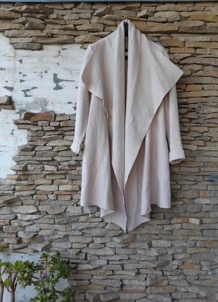Пудровый шерстяной с карманами кардиган пальто большого размера