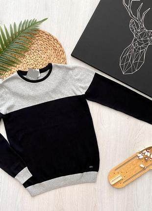 Стильный хлопковый школьный подростковый свитер джемпер для мальчика piazza italia италия