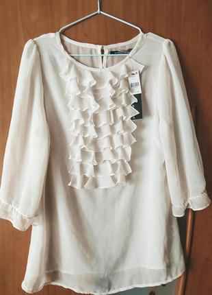 Скидка! новая шифоновая блуза с рюшами айвори atmosphere sale