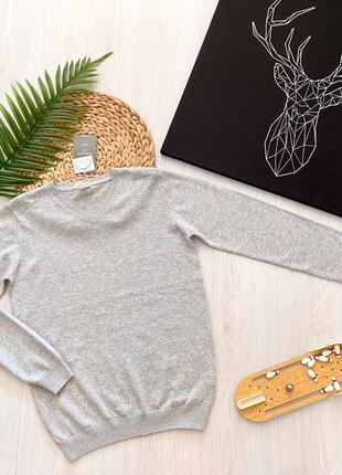 Серый хлопковый школьный подростковый свитер джемпер для мальчика piazza italia италия