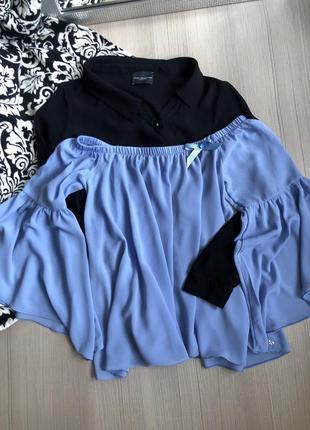 Блуза imperial голуба на плечі рукав рюша ніжна неймовірна