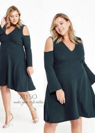 Оригинальное платье бутылочного цвета lost ink