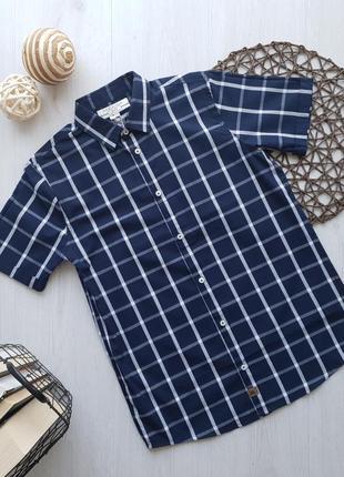 Школьная подростковая рубашка с коротким рукавом для мальчика piazza italia италия
