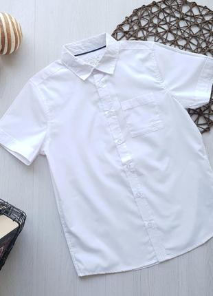 Белая школьная подростковая рубашка с коротким рукавом для мальчика piazza italia италия
