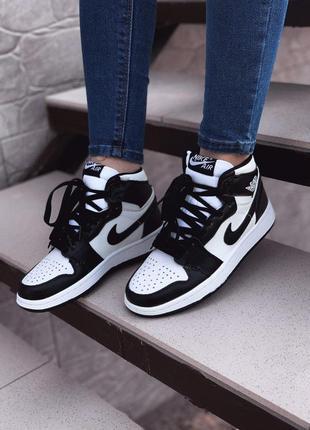Nike air jordan женские кроссовки найк белые с черным 36-40