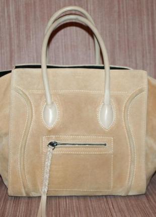 Celine phantom tote suede bag,большая сумка нат.замшевая кожа