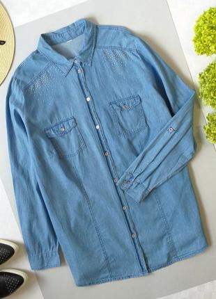 Рубашка джинсовая с декоративными стразами р. 18-20