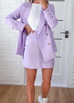 Костюм комплект двойка брюки штаны лен пиджак жакет удлиненный юбка на высокой посадке