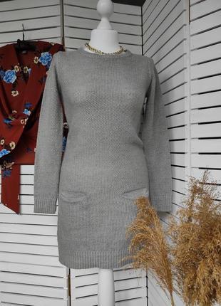 Теплое вязанное платье с кариашками атм