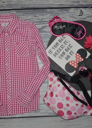 8 лет 128 см h&m фирменная стильная натуральная рубашка блузка блуза клетка