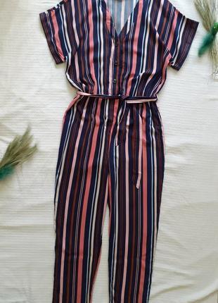 Ромпер комбез комбинезон шикарный в полоску полосочку с поясом брюками