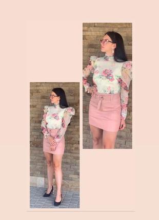 Лёгкая блуза в цветок, блуза с пышными рукавами