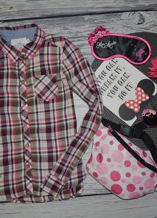 9-10 лет 140см h&m фирменная стильная натуральная рубашка блузка блуза клетка с манжетом
