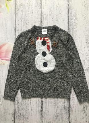 Крутая кофта новогодний свитер снеговик новый год f&f 7-8лет