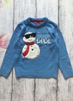 Крутая кофта новогодний свитер новый год снеговик festive fun 7-8лет