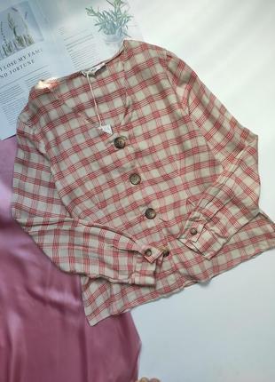 Рубашочка в клітинку mango з льону❤