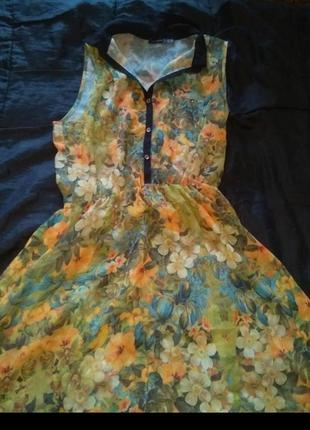 Летнее лёгкое воздушное платье принт цветы с воротником пуговицы бренд atmosphere