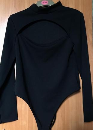 Базовый боди чёрный с горлом  бодик с длинным рукавом