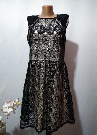 Кружевное двухцветное платье