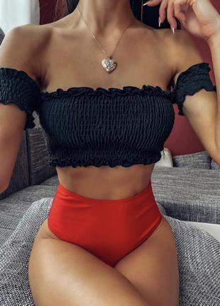 Женский раздельный купальник бандо с топом резинкой красно-черный