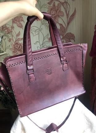 Эффектная необычная кожаная сумка в этно стиле, натуральная плотная кожа,