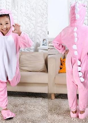 Костюм комбинезон пижама кигуруми детский розовый динозавр