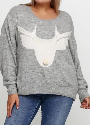 Вязанный свитер h&m с оленем, камнями и помпоном