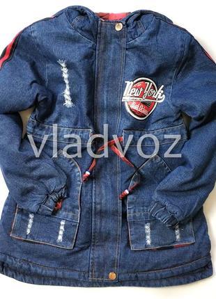 Детская джинсовая парка для девочки тёплая подкладка new york 10-11 лет