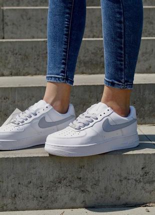 Nike air force 1 кеды белые рефлективные