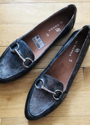 Шикарные лоферы балетки мюли кожа новые на низком ходу туфли