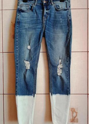 Голубые джинсы скини с высокой посадкой с градиентом