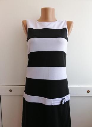 Платье в полосочку белое чёрное короткое