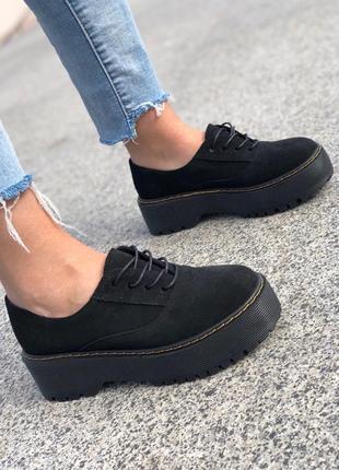 Натуральная замша! стильные женские туфли на платформе на шнурках оксфорды замшевые