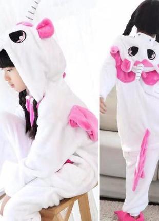Комбинезон костюм пижама кигуруми единорог белый детский