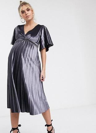 Бархатное платье миди для беременных с перекрученной отделкой asos
