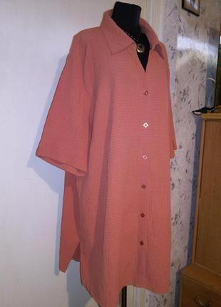 Платье-рубашка,блузка-жатка на пуговицах,оранжевого цвета (фото4),большого размера