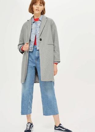 Стильное серое пальто на 1 пуговицу с карманами topshop relaxed fit coat
