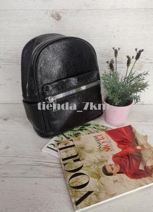 Городской рюкзак 802 черный (блестящий) из кожзама