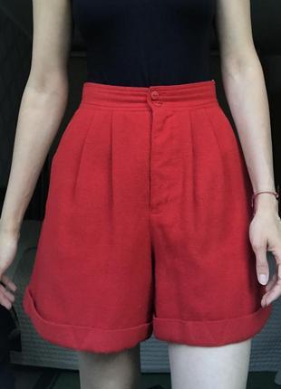 Красные винтажные шорты на высокой талии шерсть vintage