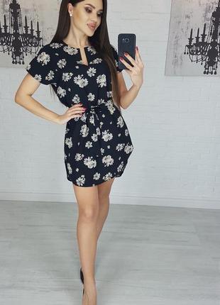 Платье мини женское с поясом летнее разноцветное приталенное черно белое