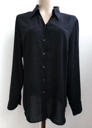 Чёрная блуза в серебристую точку