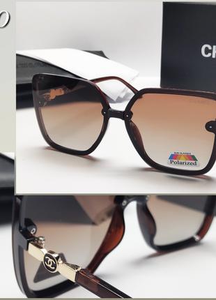 Женские очки оверсайз коричневые с поляризацией