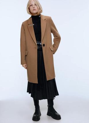 Классическое шерстяное бежевое пальто zara