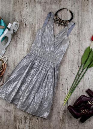 Платье коктейльное котоновое серебристое от qed london