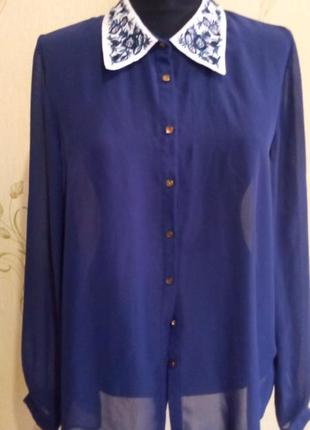 Полупрозрачная блуза вышивка воротник atmosphere