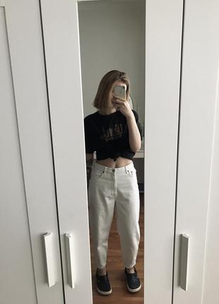 Белые джинсы zara slouch слоучи