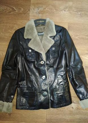 Кожаная дубленка, зимняя куртка, мутон