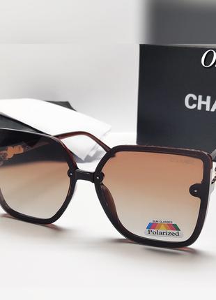 Женские коричневые очки оверсайз  с поляризацией